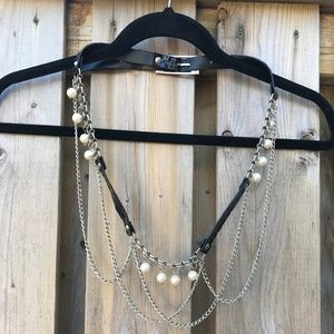 Accessories - Thin Black Patent Belt Hanging Chains Faux Pearls